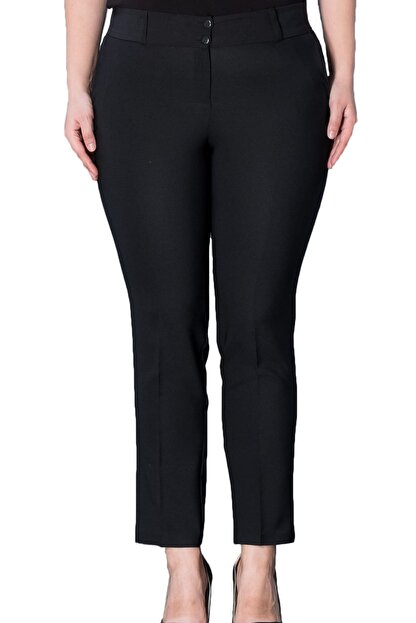 Hanezza Kadın Siyah Bilek Boy Cepli Pantolon PT2136