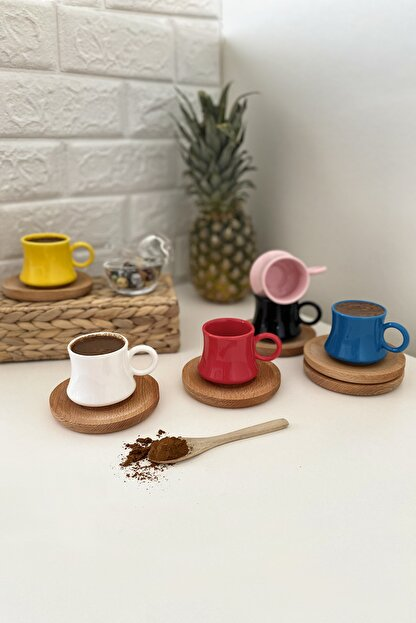 Kitchen Feel Largi Renkli  Kahve Fincan Takımı  6 Kişilik