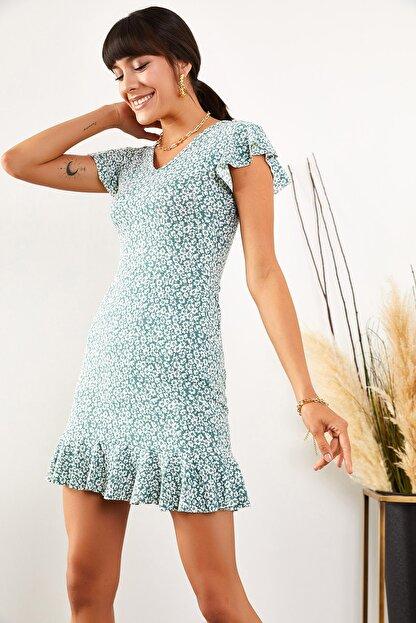 Olalook Kadın Mint Çiçekli Kolu ve Eteği Fırfırlı Kaşkorse Elbise ELB-19001407