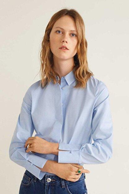 Mango Kadın Gök Mavisi Düğmeli Pamuklu Bluz 41013707