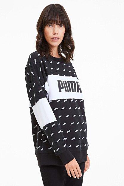 Puma Kadın Sudadera Crew Aop Logo Sweatshirt