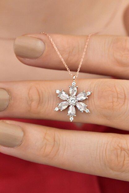 Papatya Silver 925 Ayar Gümüş Beyaz Taşlı Kamelya Çiçeği Kadın Kolye