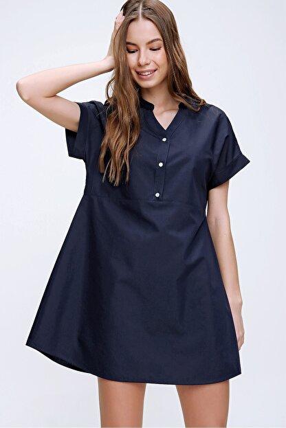 Trend Alaçatı Stili Kadın Lacivert Hakim Yaka Basic Dokuma Elbise ALC-X6053