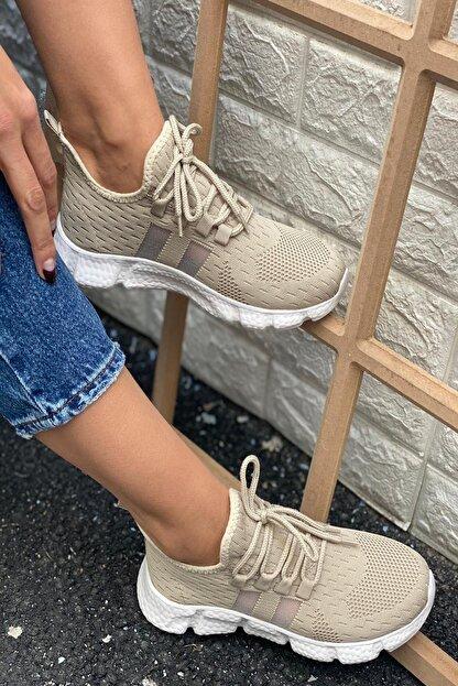 İnan Ayakkabı Kadın Bej Triko Spor Ayakkabı