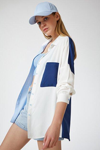 Happiness İst. Kadın Mavi Blok Renkli Oversize Viskon Gömlek DD00843