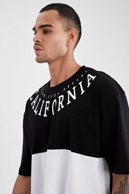 Defacto Erkek Siyah Oversize Fit Baskılı Kısa Kollu Tişört