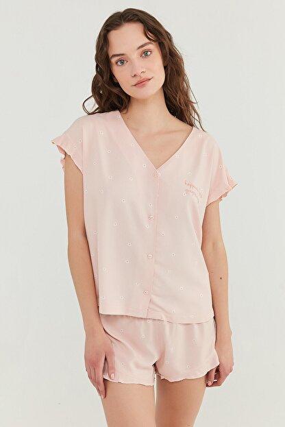 Penti Kadın Somon Gorgeous Gömlek Şort Takımı