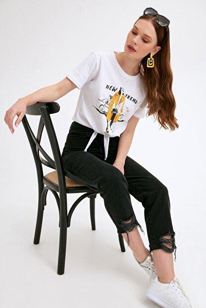 Fullamoda Kadın Paça Detaylı Pantolon