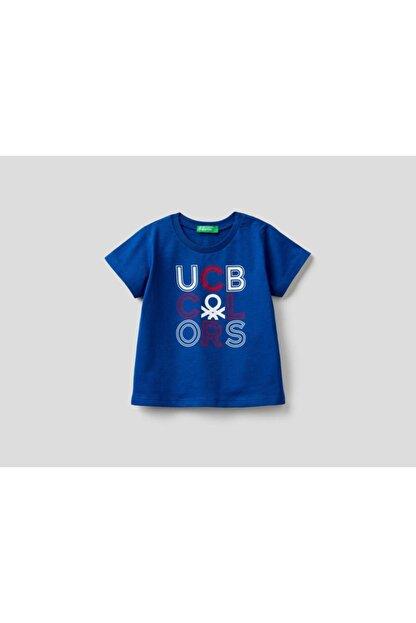 Benetton Erkek Çocuk Lacivert Yazılı Tshirt 012