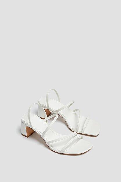 Pull & Bear Kadın Ekru İnce Bantlı Topuklu Sandalet