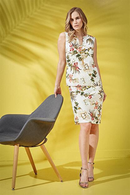 Journey Kadın Çiçekli Krem Elbise 18YELB949
