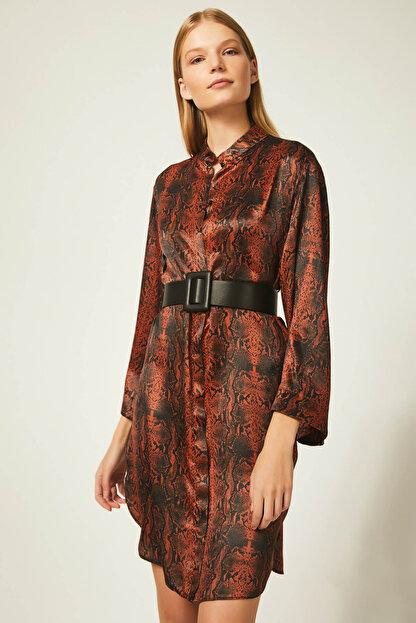 Happiness İst. Kadın Kiremit Yılan Derisi Desenli Elbise FN00354