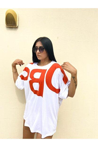 easechic Kadın Oversize Baskılı Tshirt