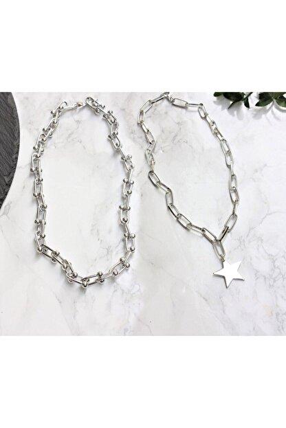 Lal Gümüş Kaplama Ikili Kombin Kolye Yıldız Kolye Ve Blanca Tiffany Kolye
