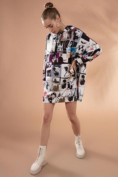 Pattaya Kadın Baskılı Oversize Sweatshirt Elbise P20w-4129