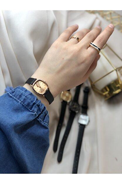 Ess Takı & Saat Retro Minimal Deri Kordon Kadın Kol Saati - Rose