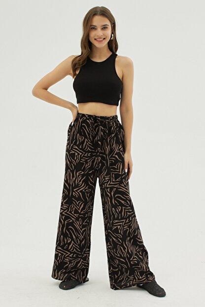 Pattaya Kadın Siyah Zebra Desenli Geniş Paça Dokuma Pantolon P21s169-1233