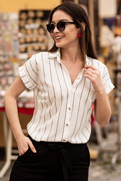 armonika Kadın Füme Keten Çizgili Kısa Kol Gömlek ARM-19Y001067