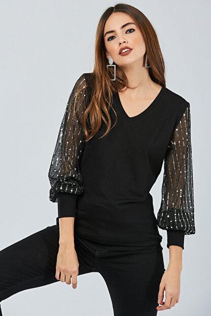 Cool & Sexy Kadın Siyah Kolu Payetli Bluz BK5024