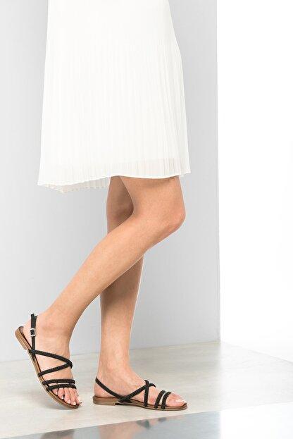 İnci Hakiki Deri Siyah Kadın Sandalet 120120077038