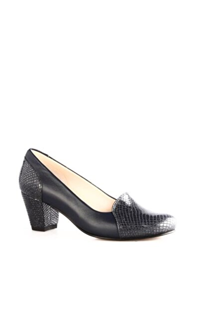 Dgn Lacivert Petek Lacivert Kadın Klasik Topuklu Ayakkabı 258-148