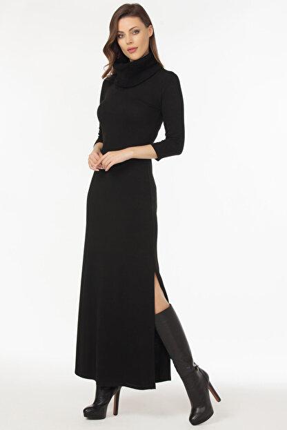 Laranor Kadın Siyah Yaka ve Yırtmaç Detaylı Triko Elbise 19L6481