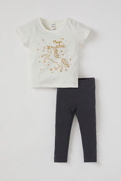 Defacto Kız Bebek Unicorn Baskılı Pamuklu Kısa Kol Tişört Ve Tayt Takımı