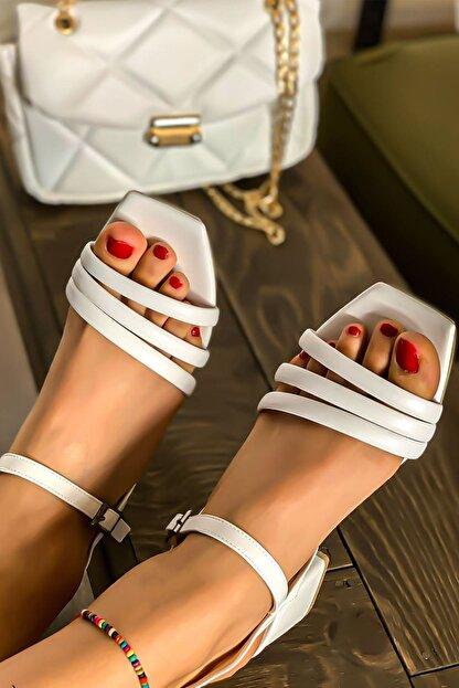 Lal Shoes & Bags Kadın Beyaz Biyeli Klasik Topuklu Ayakkabı