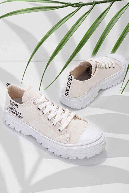 Bambi Bej Keten Kadın Sneaker K01530110518