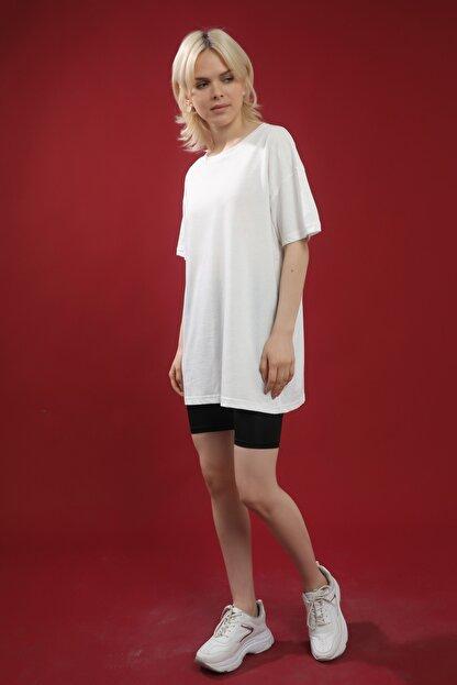 Grenj Fashion Beyaz Pamuk Bisiklet Yaka Oversize Örme Tshirt