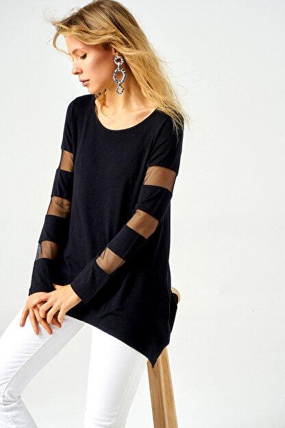 Boutiquen Kadın Siyah Kolları ve Sırtı Tül Detaylı Tunik 10021 10021