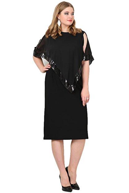 Angelino Kadın Siyah Payetli Uzun Abiye Elbise KL8022K