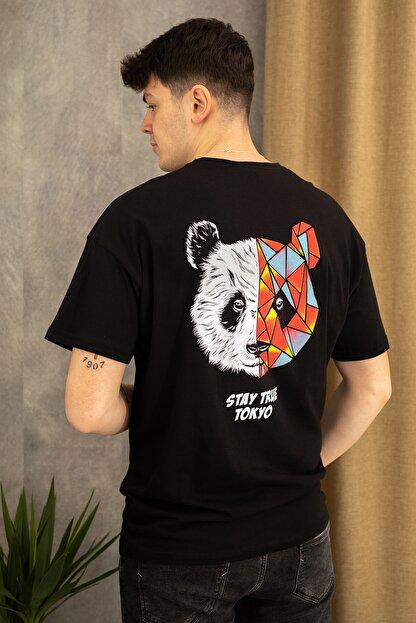 wamoss Siyah Oversize Panda Baskı T-shirt