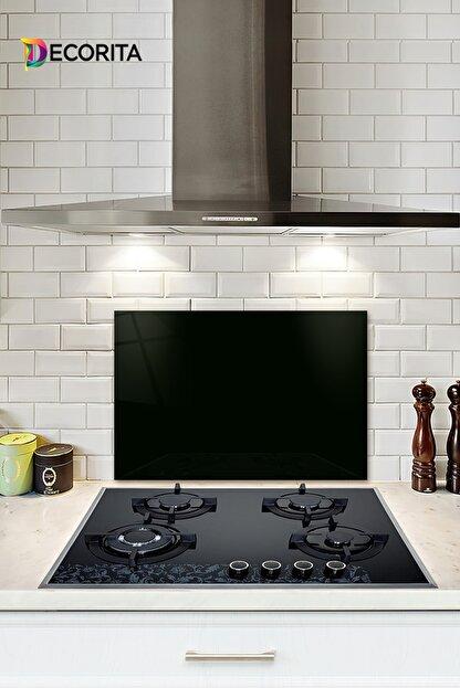 Decorita Düz Renk - Siyah | Cam Ocak Arkası Koruyucu | 40cm x 60cm