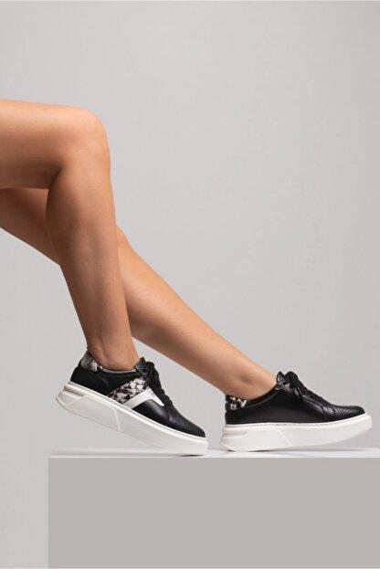 GRADA Kadın Deri Siyah Sneaker Ayakkabı