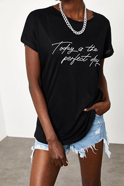 Xena Kadın Siyah Yumuşak Dokulu Esnek Örme Baskılı T-Shirt 1KZK1-11560-02