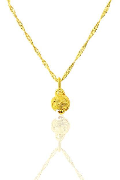Söğütlü Silver Kadın Gümüş Altın Yaldızlı Kazaziye Top Kolye Ve Singapur Zincir SGTL9573