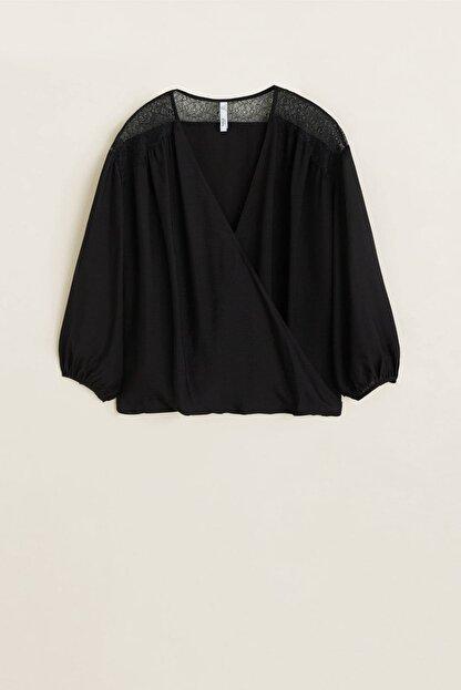 Mango Kadın Siyah Dantel Aplikeli Bluz 43027795