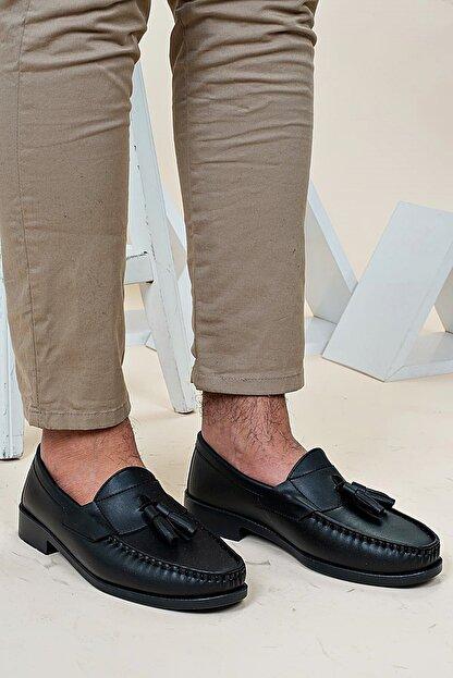 Ayakkabı Bahçesi Erkek Siyah  Corcik Model  Cilt  Klasik Ayakkabı