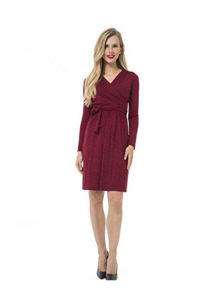 Accouchee Kırmızı-Siyah Emzirme Özellikli Hamile Elbisesi