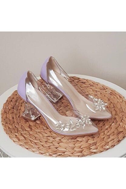 TRENDWOMAN Kadın Mor Şeffaf Taşlı Topuklu Ayakkabı