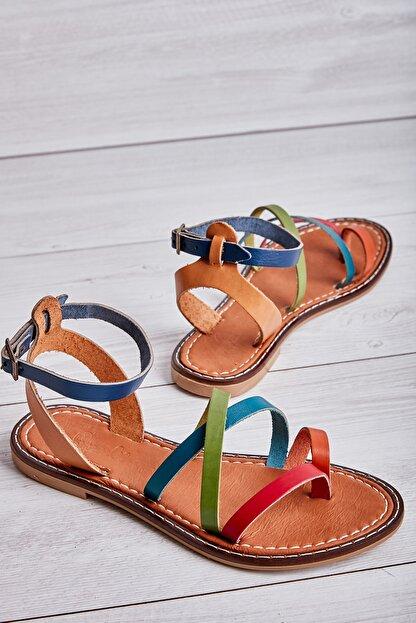 Bambi Hakiki Deri Çok Renkli Kadın Sandalet L0602809503