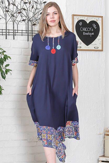 Chiccy Kadın Lacivert El İşi Çiçek İşlemeli Kol Ve Etek Ucu Çini Desen Bloklu Cepli Elbise M10160000EL95276