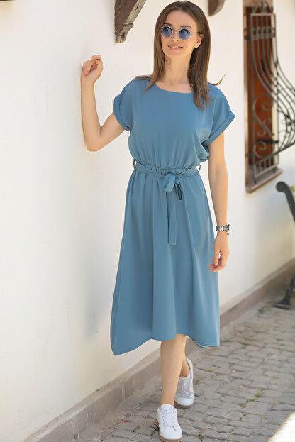 armonika Kadın İndigo Beli Lastikli Bağlamalı Elbise ARM-18Y001120