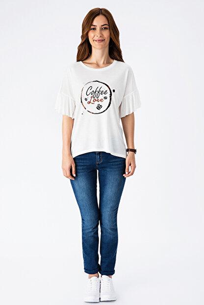 Tchibo Beyaz Coffee Love Volan Kollu Kadın Tişört 101984