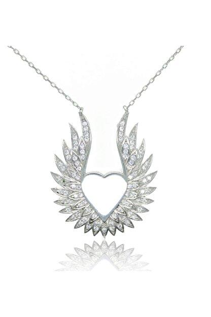 Gri Gümüş 925 Ayar Kalpli Melek Kanadı Gümüş Kolye