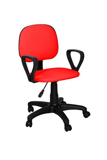 Remaks Ofis Sandalyesi Sekreter Koltuğu Bilgisayar Koltuğu Kollu Çalışma Taburesi kırmızı