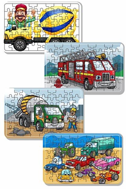 Baskı Atölyesi Çimento Arabası, Itfaiye, Arabalar 54 Parça Ahşap Puzzle