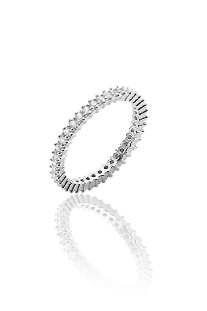 Söğütlü Silver Kadın Gümüş Rengi Tek Sıra Zirkon Taşlı Tamtur Gümüş Yüzük SGTL8766