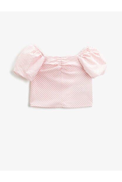 Koton Kız Çocuk Çizgili Bluz Balon Kollu